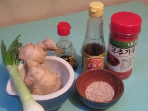 ingredients for making Korean kimchi