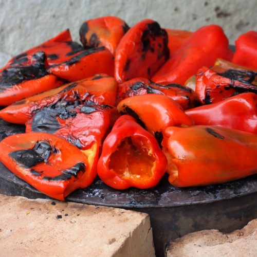chargrilled red capsicum peppers