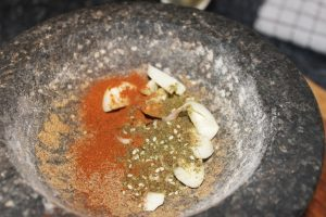 molcajete wwith adobo ingredients