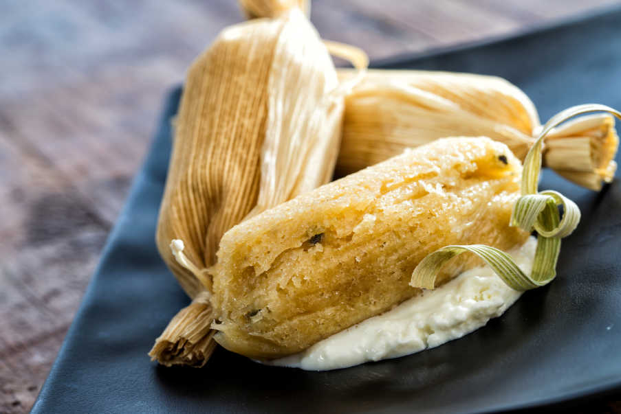 fermented Sour Michoacan Tamales With Tomatillo Salsa And Pumpkin Seed