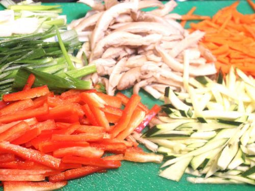 julienned vegetables for bibimbap