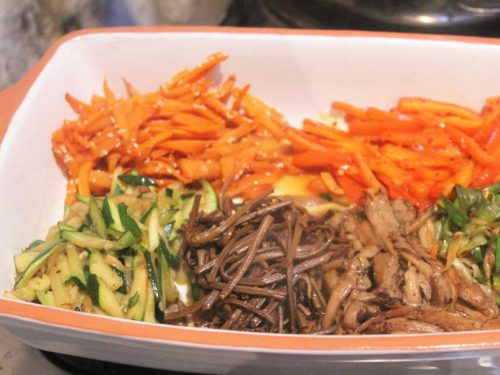 vegetable toppings for Korean bibimbap