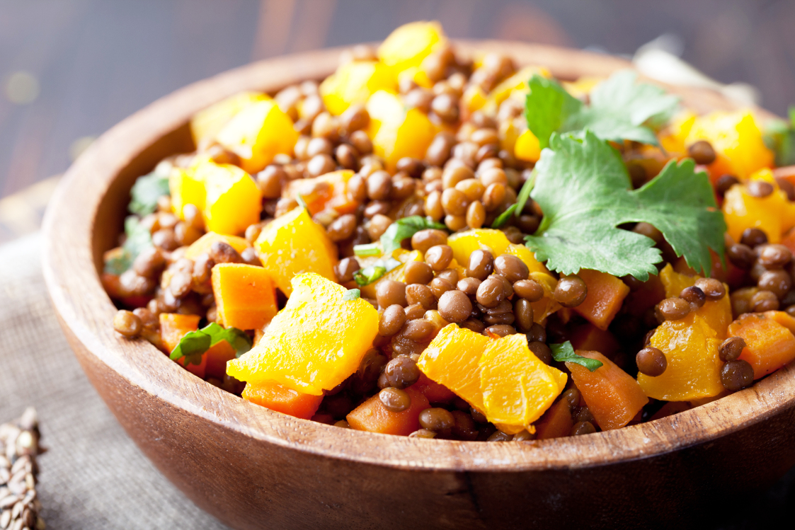 andalusian puy lentil stew with butternut squash